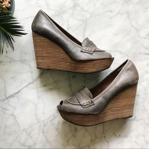 Lucky Brand Gray Brown Laila Leather Wedge Heels